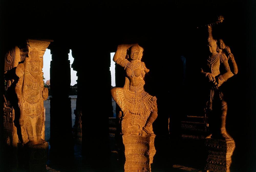 Sunlit temple columns by matt mackay