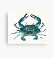 """Blue Crab"" by Amber Marine, watercolor painting, © 2013 Canvas Print"