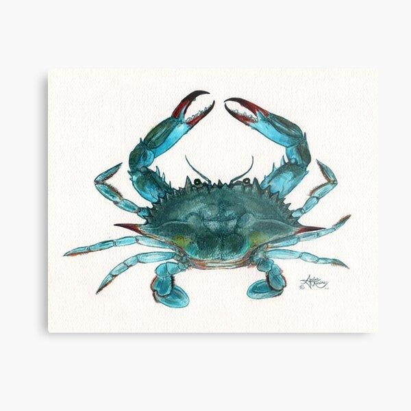 """Blue Crab"" by Amber Marine, watercolor painting, © 2013 Metal Print"