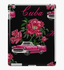 Embroidery floral seamless pattern with peony and red retro car. iPad Case/Skin