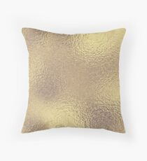 Metallic Antique Gold Shimmer Solid Throw Pillow