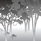 Morning Fog - kangaroos - Australian bush scene by stuARTconcepts