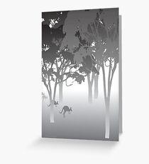 Morning Fog - kangaroos - Australian bush scene Greeting Card