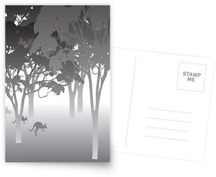 Morning Fog - kangaroos - Australian bush scene by stuARTconcepts