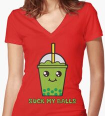Suck My Balls - Funny Bubble Tea (Matcha Green Tea) Women's Fitted V-Neck T-Shirt