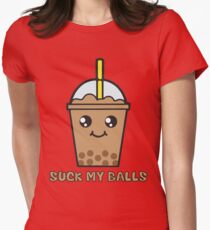 Suck My Balls - Funny Bubble Tea (Mocha Chocolate) Womens Fitted T-Shirt