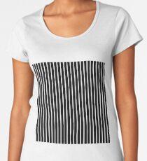 BLACK BACKGROUND WHITE THIN STRIPE Women's Premium T-Shirt