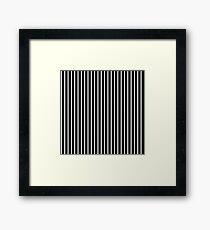 BLACK BACKGROUND WHITE THIN STRIPE Framed Print