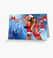 Sexy Santa's Helpers Holiday postcard, Wallpaper, Club Flyer Template with musical notes on blue 3D background Greeting Card