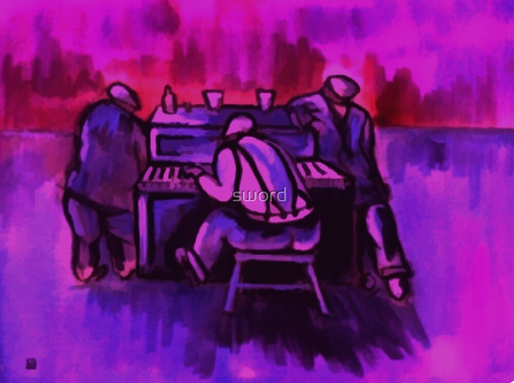 The piano player by sword