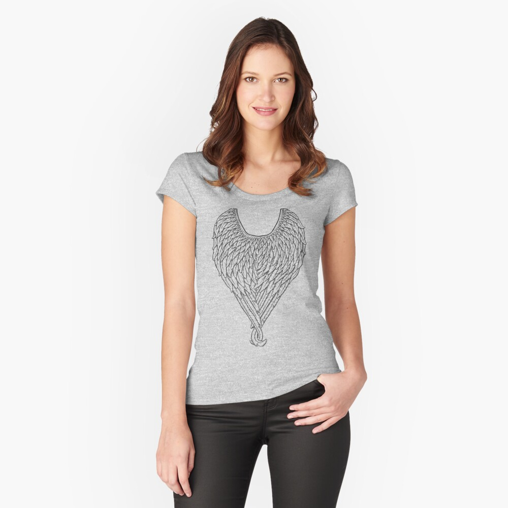 Wings (Black Linework) Women's Fitted Scoop T-Shirt Front