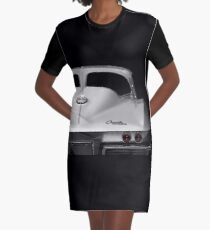 1963 Corvette Detail - High Contrast Graphic T-Shirt Dress