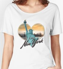 I LOVE NEW YORK - NYC Skyline Brooklyn Bridge Heart Sunset Statue of Liberty Women's Relaxed Fit T-Shirt