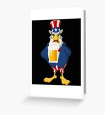 Patriotic American Eagle Beer Shirt Fourth of July Shirt Greeting Card