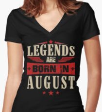 Legends Are Born in August Women's Fitted V-Neck T-Shirt