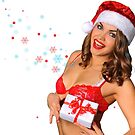 Sexy Santas Helper girl great image on white isolated BG by Anton Oparin
