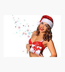 Sexy Santas Helper girl great image on white isolated BG Photographic Print