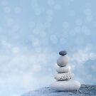 Balanced Zen Pebble Stack Blue Light by artsandsoul