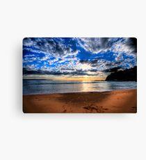 Footprints in The Sand - Sydney Beaches - Palm Beach, - The HDR Series - Sydney,Australia Canvas Print