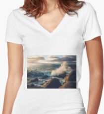 Rocky Shore Waves Women's Fitted V-Neck T-Shirt