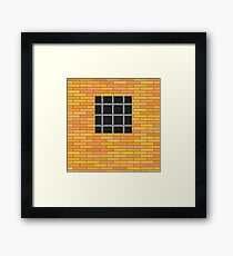 Prison Window 0n Red Brick Wall. Jail Wall with Window. Framed Print