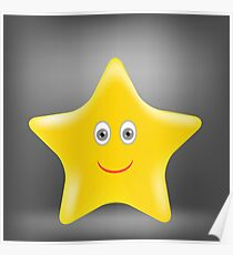 Cartoon Gold Star Isolated on Grey Background. Poster