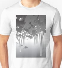 Morning Fog - kangaroos - Australian bush scene T-Shirt