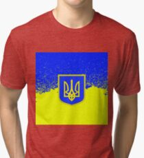 Yellow Blue Flag of Ukraine Symbol of Independence. Tri-blend T-Shirt