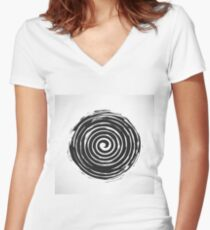 Black Spiral Grunge Pattern Isolated on White Background. Women's Fitted V-Neck T-Shirt