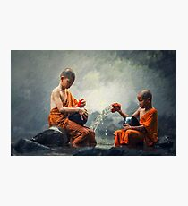 Living Waters - Monk boys at river Photographic Print