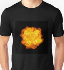 Extremely massive fire explosion, orange color with sparks isolated on black background, high resolution image T-Shirt