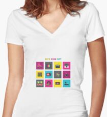 80's Women's Fitted V-Neck T-Shirt