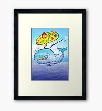 Wild whale saying bad words while fleeing a harpoon Framed Print