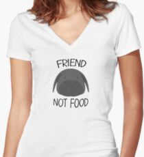 Friend not food Women's Fitted V-Neck T-Shirt