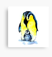 Penguin And Baby penguin Canvas Print