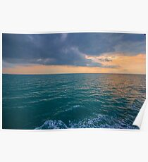 Vivid Orange Ocean Sunset Poster