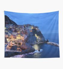 Cinque Terre Italy Sunset Ocean Cliffs Wall Tapestry