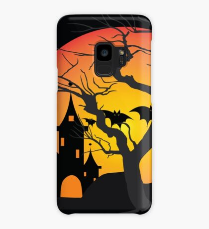 Halloween Scary Castle with Bats and Full Moon Case/Skin for Samsung Galaxy