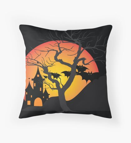 Halloween Scary Castle with Bats and Full Moon Throw Pillow