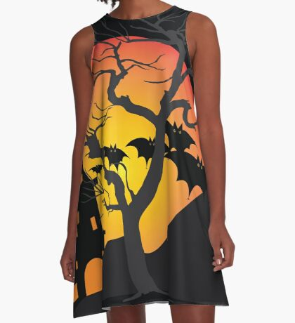 Halloween Scary Castle with Bats and Full Moon A-Line Dress