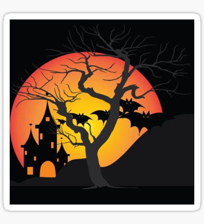 Halloween Scary Castle with Bats and Full Moon Sticker