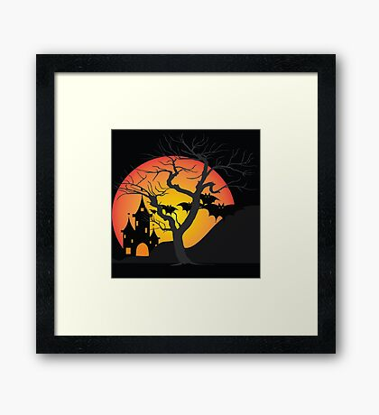 Halloween Scary Castle with Bats and Full Moon Framed Print