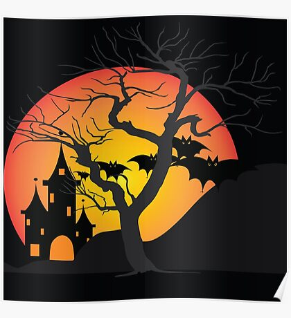 Halloween Scary Castle with Bats and Full Moon Poster