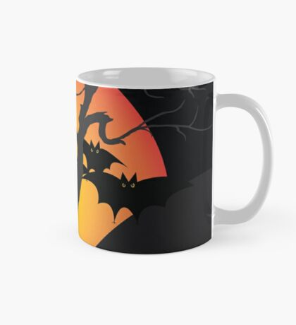 Halloween Scary Castle with Bats and Full Moon Mug