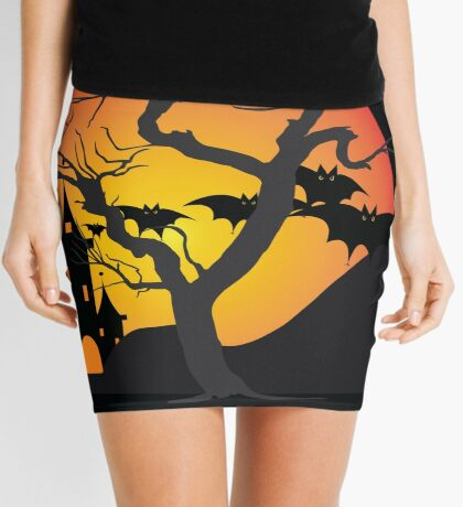 Halloween Scary Castle with Bats and Full Moon Mini Skirt