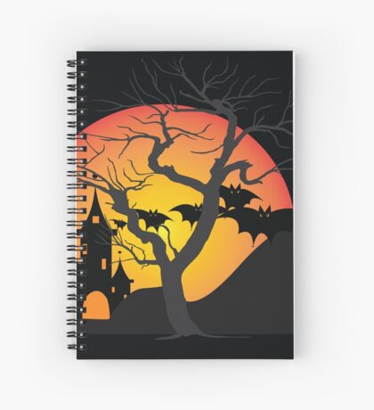 Halloween Scary Castle with Bats and Full Moon Spiral Notebook