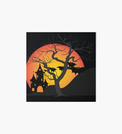 Halloween Scary Castle with Bats and Full Moon Art Board