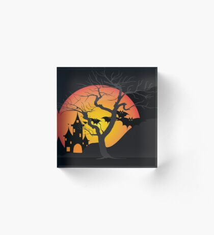 Halloween Scary Castle with Bats and Full Moon Acrylic Block