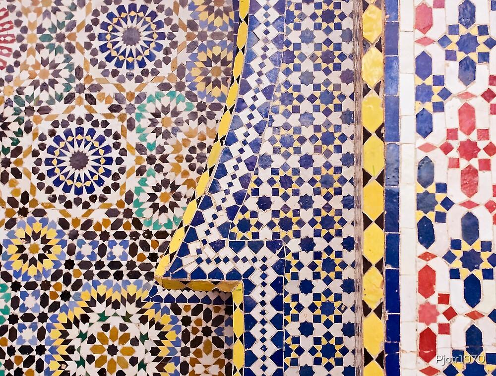 Mosaic of tiles in Meknes Morocco by Pjotr1970