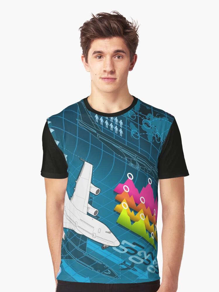 Isometric Airplane Infographic Airport Graphic T-Shirt Front